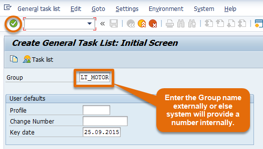 General Task List intial screen