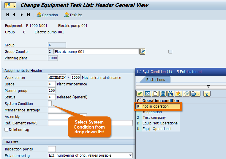 System Condition in Task List
