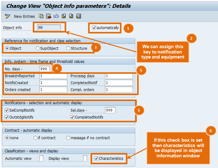 object information key in SAP PM