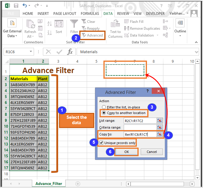 Advance Filter in excel