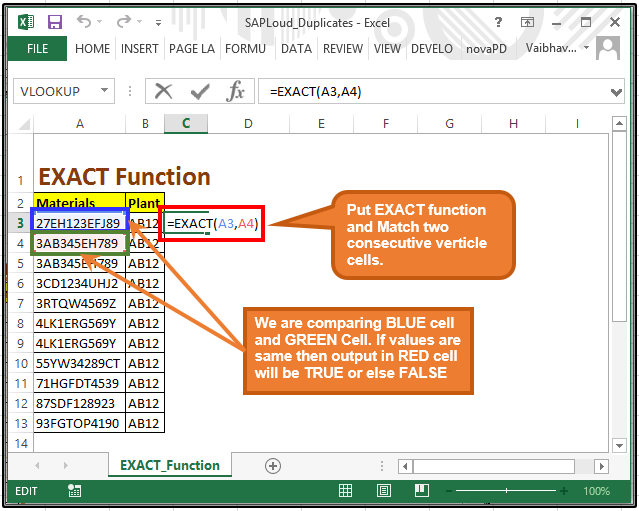 EXACT Function in excel