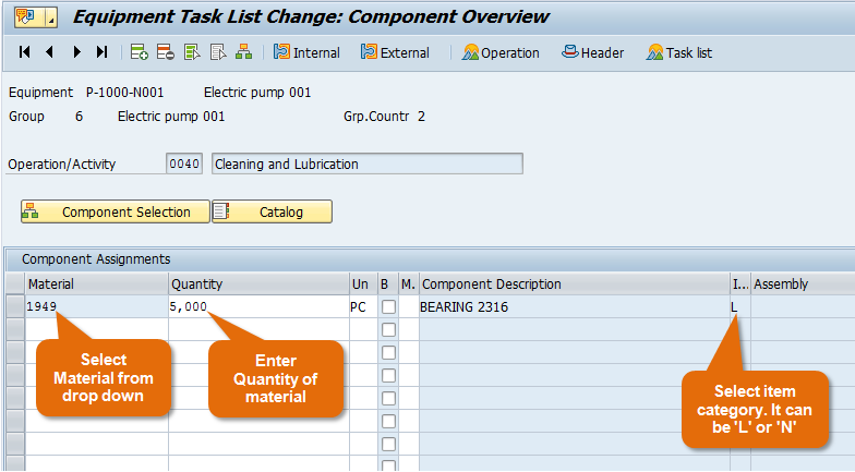 Components overview in task list