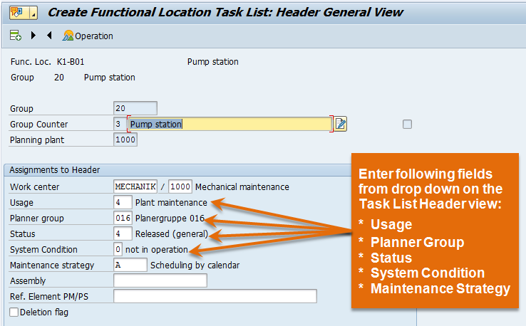 Functional Location Header view