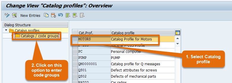 Catalog Profile and Code group