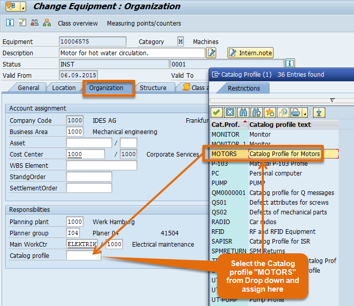 Catalog Profile assignment to Equipment master