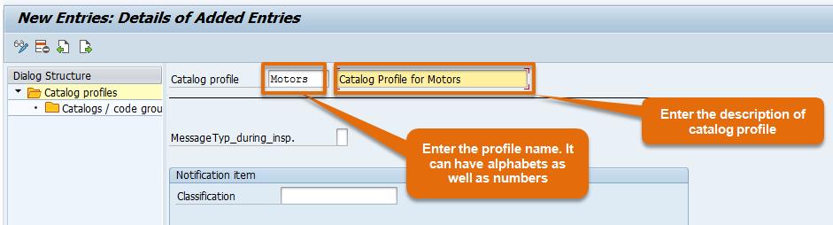 Catalog Profile name and description