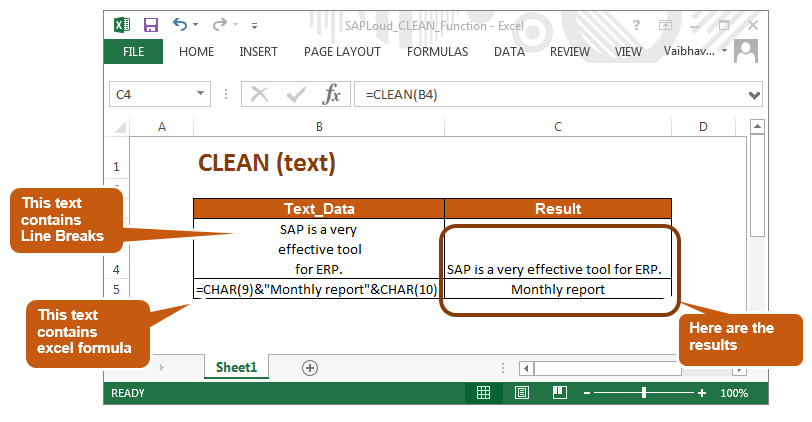 Clean Function in MS excel