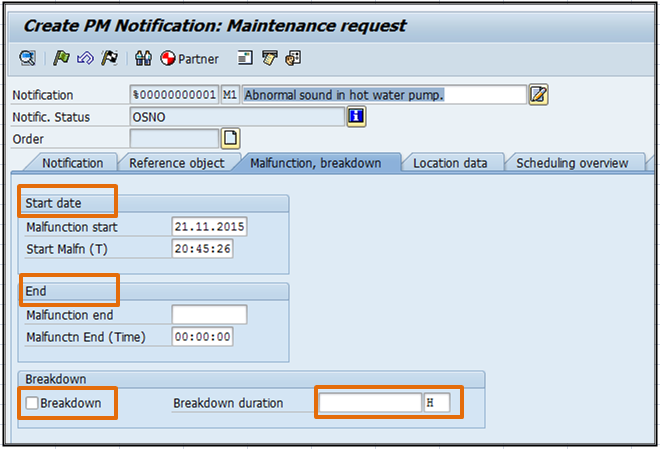 Malfunction breakdown tab in notification