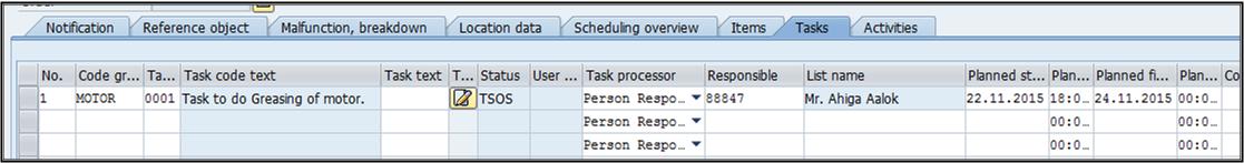 Task in notification
