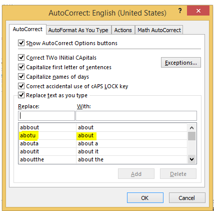 AutoCorrect option in MS excel