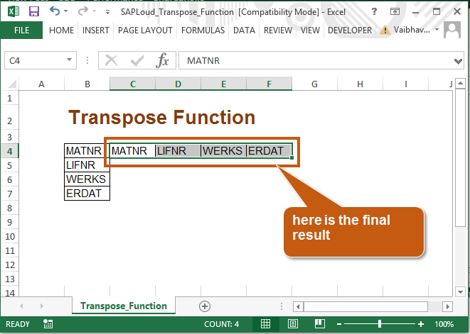 transpose result1