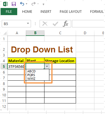 Drop down list