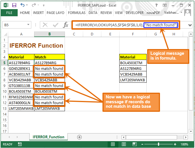 IFERROR in excel