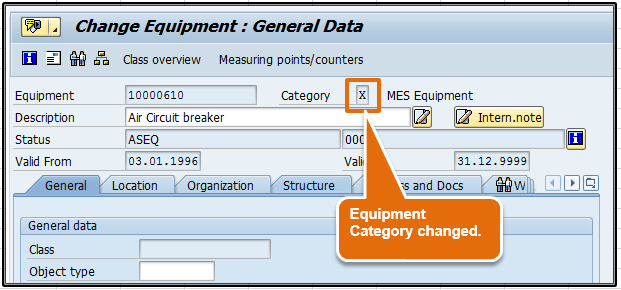 Step 5: Equipment category changed
